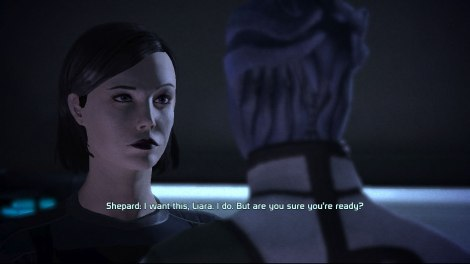 Liara: I have no hair, and you're worried about my sexual orientation?